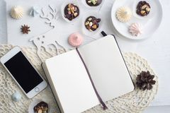 Notebook mock up over holiday background Stock Photo