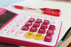 Notebook monthly planner and calculator for financial at office desk Royalty Free Stock Photo
