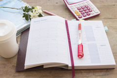 Notebook monthly planner record for financial Stock Photos