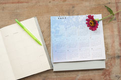 Notebook monthly planner record for financial. Background notebook monthly planner record for financial on office desk royalty free stock photos