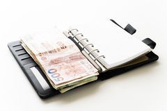Notebook and more money Stock Photography