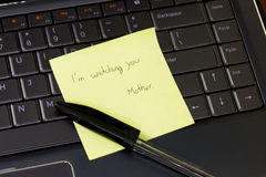 Notebook with a mother's note. Royalty Free Stock Photos