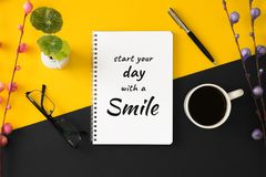 Notebook with motivational and inspirational wisdom quote. royalty free stock photo