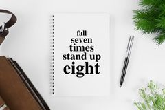 Notebook with motivational quote. Motivational and inspirational quote. Business Quote. Minimal flat lay top view concept Stock Photography