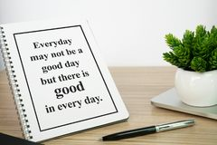 Notebook with motivational quote. Motivational and inspirational quote. Self help quote Stock Image
