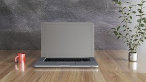 Notebook with a mug and a plant, black wall and wood table 3D illustration stock illustration