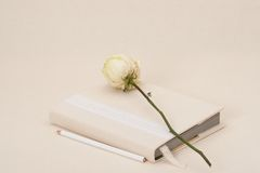 Notebook With Natural Linen Cover. Dried Rose. Stock Images