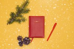 Notebook for notebooks lies on the table next royalty free stock photo