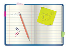 Notebook / notepad with pencil. Paper clips, bookmarks, post-it note and place for your text Royalty Free Stock Photos