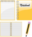 Notebook, notepad and pencil. Vector illustration Stock Image
