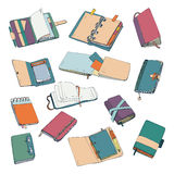 Notebook, notepad, planner, organizer, sketchbook hand drawn set. Collection of colorful illustrations. Stock Photography