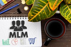 Notebook with a notes MLM on the office table with tools. Concep. T with elements of infographics. The concept of multi-level marketing Royalty Free Stock Image