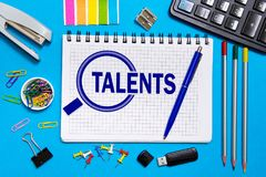 Notebook with notes  search for talented employees, programmers . The concept is searching for talented personne Royalty Free Stock Photography