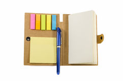 Notebook with notice papers and pen isolated Stock Photos