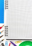 Notebook and office accessories royalty free stock images