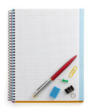 Notebook and office accessories stock photos