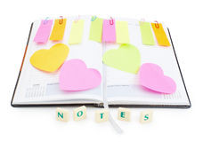 Notebook office organizer and reminder stickers . Royalty Free Stock Images