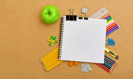 Notebook and office supplies Stock Photography