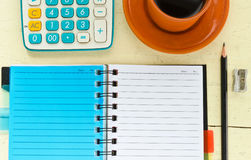 Notebook with office supplies Royalty Free Stock Image