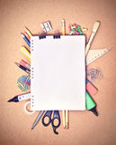 Notebook and office supplies royalty free illustration