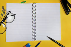 Notebook with office supply Stock Photo