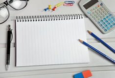 Notebook and office supply Stock Photo