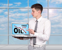 Notebook with oil crisis chart Stock Photos