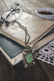 Notebook with old  necklace Royalty Free Stock Photos