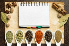 Notebook on old paper with various kinds of spices Stock Photography