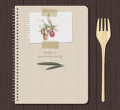 Notebook olives hand drawn. Recipes notebook and olives hand drawn Stock Photos