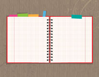 Notebook open page design on wooden background Royalty Free Stock Photos