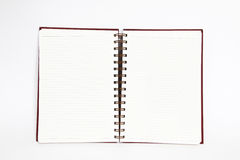 Notebook open two pages on white background Stock Photos