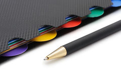 Notebook - organizer with the stylish pen Stock Photos