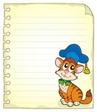 Notebook page with cat teacher 1 Royalty Free Stock Image
