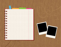 Notebook page design and photos Stock Image
