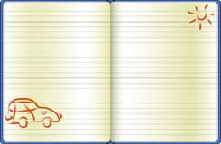 The notebook page with a drawn car. The reversal of the diary with a hand drawn car and a sun Royalty Free Stock Photo