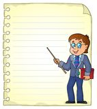Notebook page with man teacher Royalty Free Stock Photos