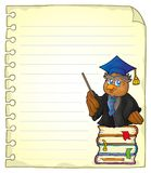 Notebook page with owl teacher 1 Stock Images
