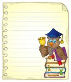 Notebook page with owl teacher 4 Stock Image