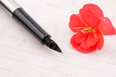 Notebook page and pen. Notebook page, pen and red flower Stock Photos