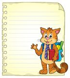 Notebook page with school cat Royalty Free Stock Photos
