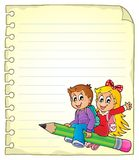 Notebook page with school kids 1 Royalty Free Stock Photography