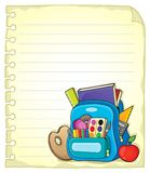 Notebook page with schoolbag 1 Stock Photos