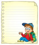 Notebook page with schoolboy Royalty Free Stock Photos