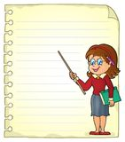Notebook page with woman teacher Stock Images
