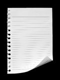 Notebook paper. On black background Royalty Free Stock Photos