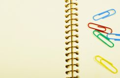 Notebook and paper clips Royalty Free Stock Photos
