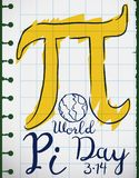 Notebook Paper with Doodle Drawings for Pi Day Celebration, Vector Illustration royalty free illustration