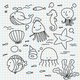 Notebook paper doodles Stock Photography