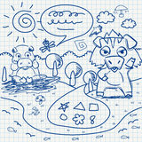 Notebook paper doodles Royalty Free Stock Photos